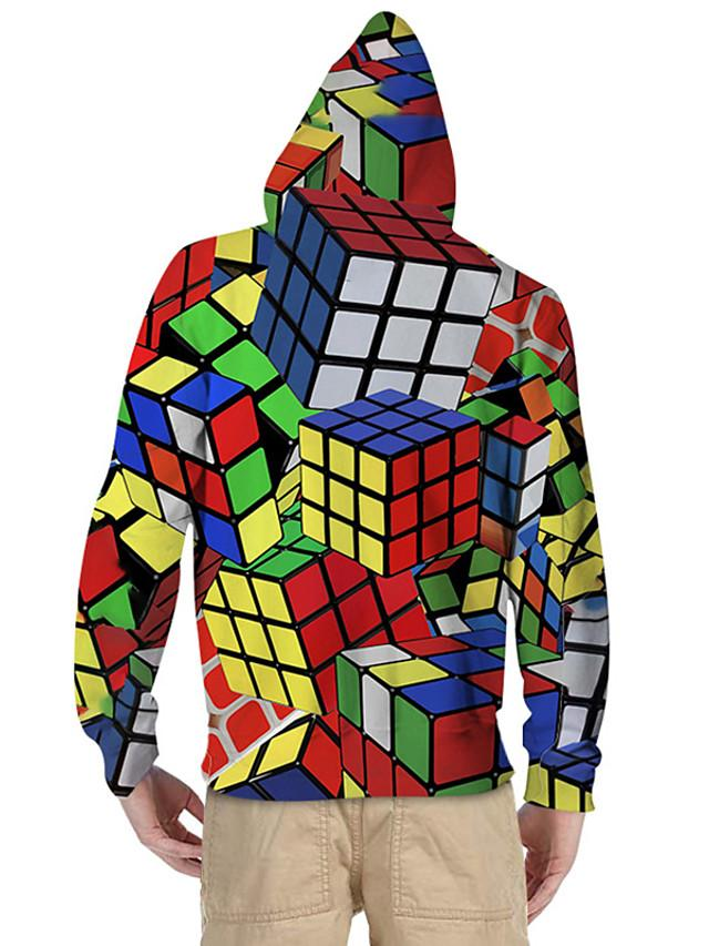 Kids Toddler Boys' Active Basic Rubik's Cube Geometric Color Block 3D Print Long Sleeve Hoodie & Sweatshirt Rainbow