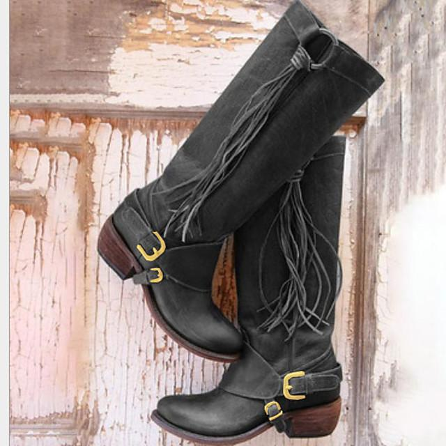 Women's Boots Knee High Boots Cowboy Western Boots Flat Heel Round Toe Vintage Daily Solid Colored PU Knee High Boots Winter Black / Brown