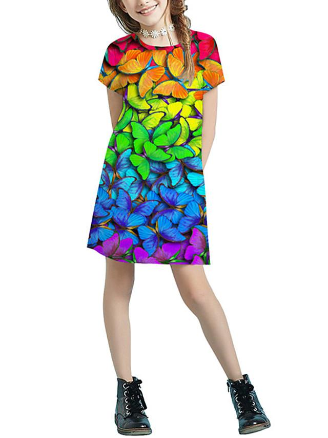 Kids Girls' Basic Cute Color Block Animal Patchwork Print Short Sleeve Above Knee Dress Rainbow