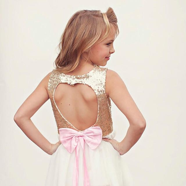 Kids Girls' Active Sweet Holiday Going out Solid Colored Lace Backless Sequins Sleeveless Knee-length Dress Gold / Cut Out / Bow / Mesh / Lace up