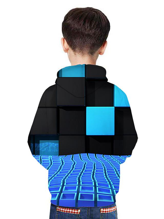 Kids Boys' Active Street chic 3D Patchwork Print Long Sleeve Hoodie & Sweatshirt Rainbow