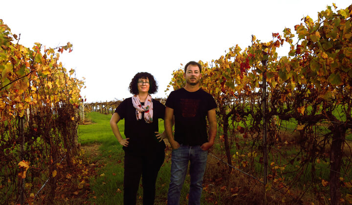 Yoko and Andries amongst the vines
