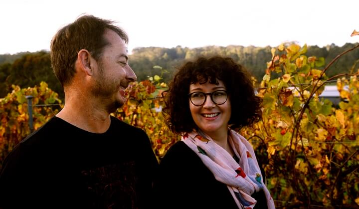 Andries & Yoko in the browning vineyard during Autumn