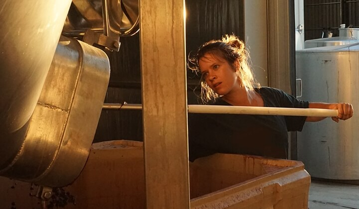 Young Julia Weirich pulling fruit from the fermenter