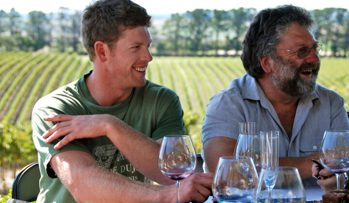 Two generations of Farrs - winemakers Nick and Gary