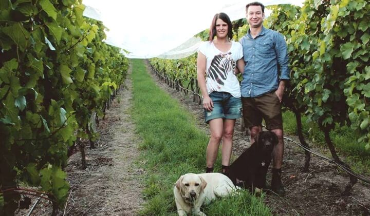 Candice & Frewin with their dogs Tumby & Angus
