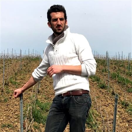 Aurélien in the vineyard