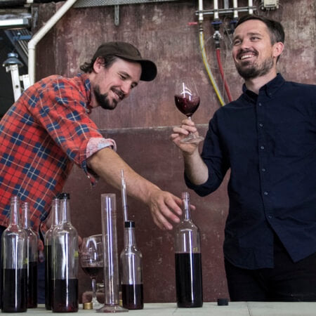 Duncan and Peter Lloyd at the blending bench