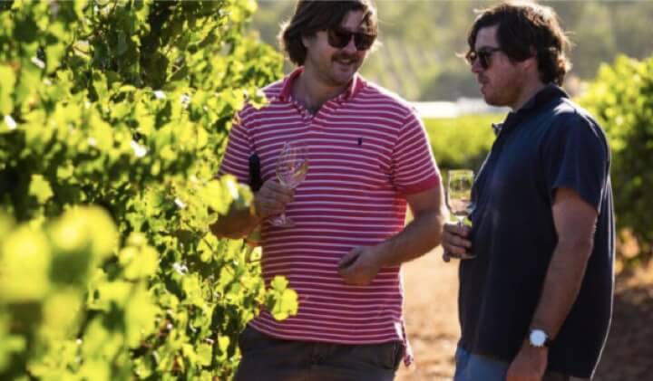 The Koerner brothers in the family vineyard