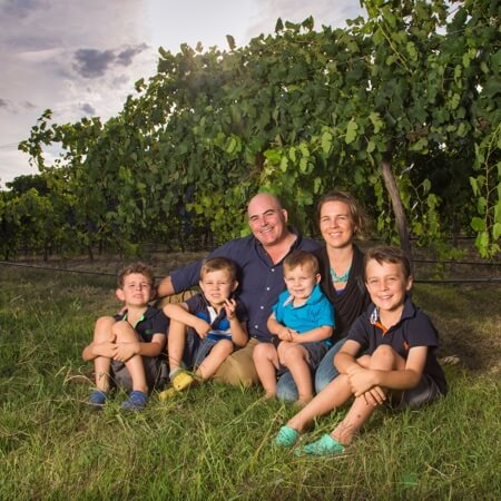 Winemaker Jason Brown and his family