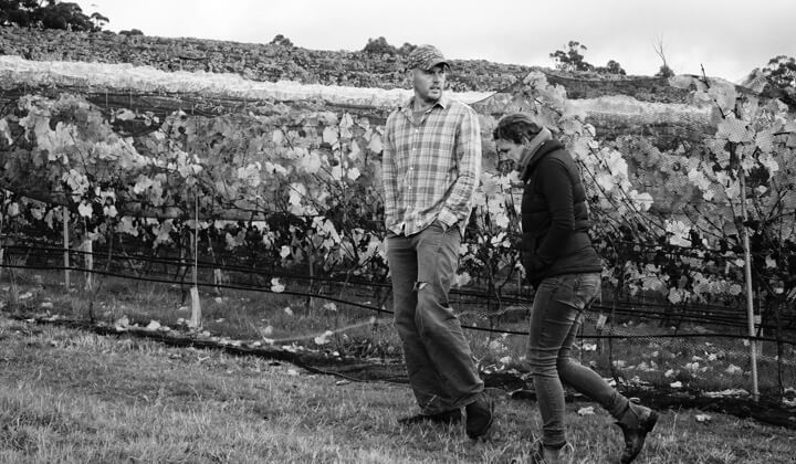 Paul and Gilli in their Huon Valley vineyard