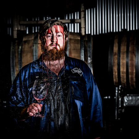 Winemaker Ben Caldwell, throwing himself into his work
