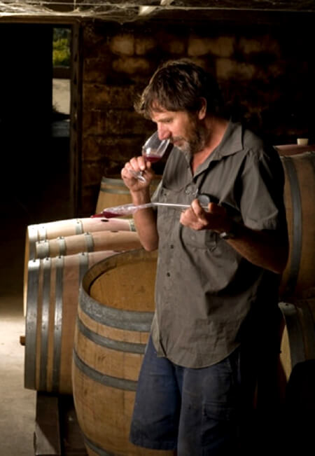 Barry Morey in his cellar, doing what he does best