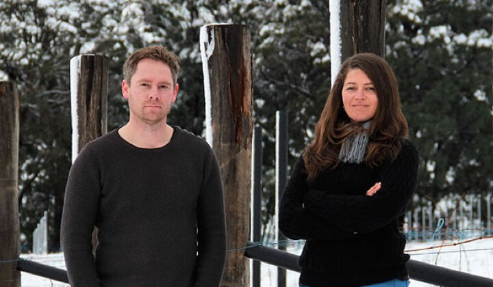 Tessa and Jeremy in their snowy Thorley vineyard