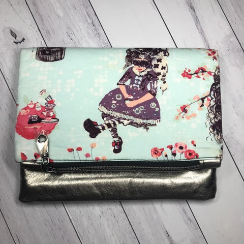 Maxi Fold Over Clutch Aqua - Luc, Izzy & The Bear