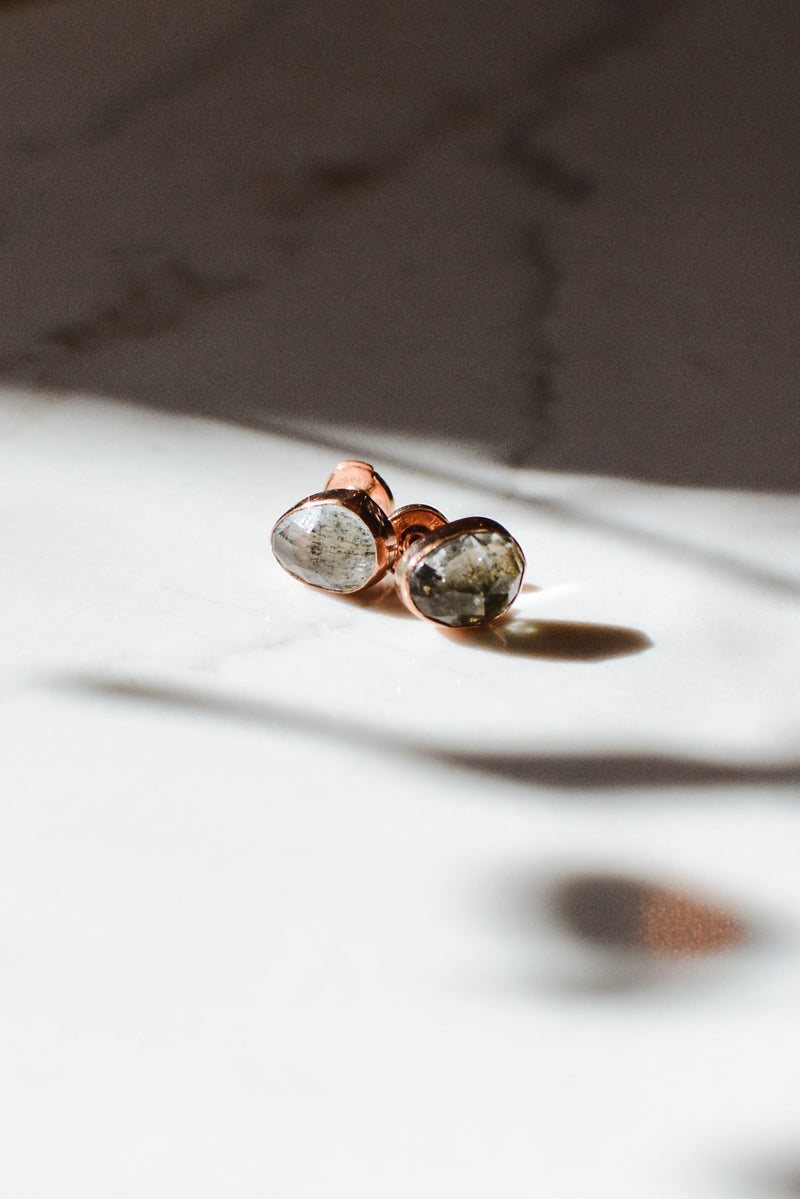Moss Aquamarine Earrings 14k Rose Gold