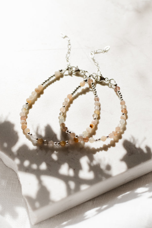 Mama & Me ~ Multi Moonstone Bracelet Set