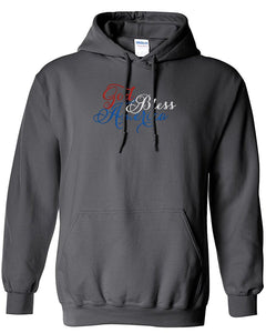 bellus Gildan Men's Custom Embroidered God Bless America Heavy Blend Hoodie Sweatshirt L