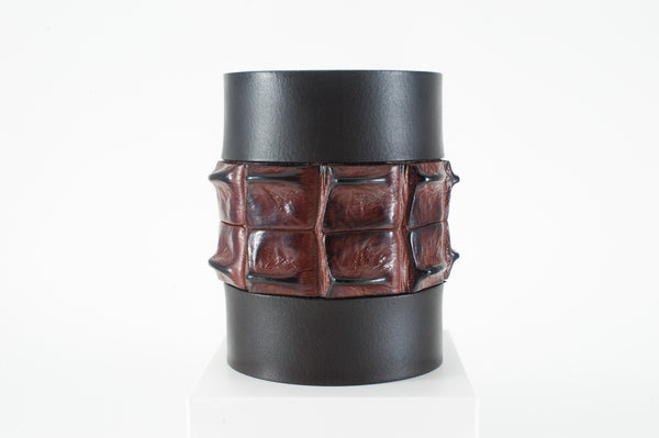 Crocodile and Buffalo Skin Stubby Cooler