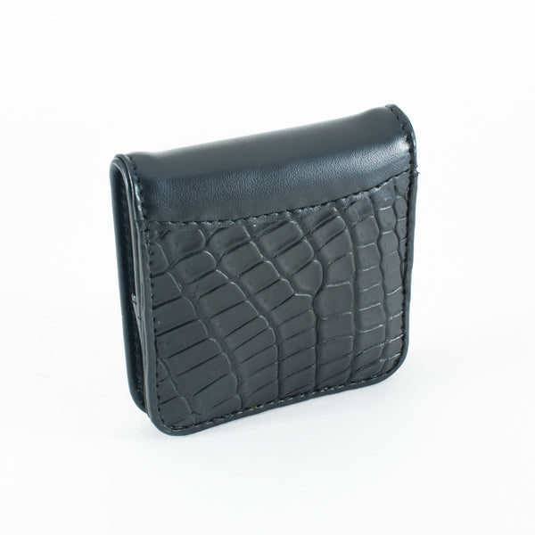 Crocodile Skin Coin Purse with Clip