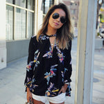 Black Floral Chiffon Summer Blouse