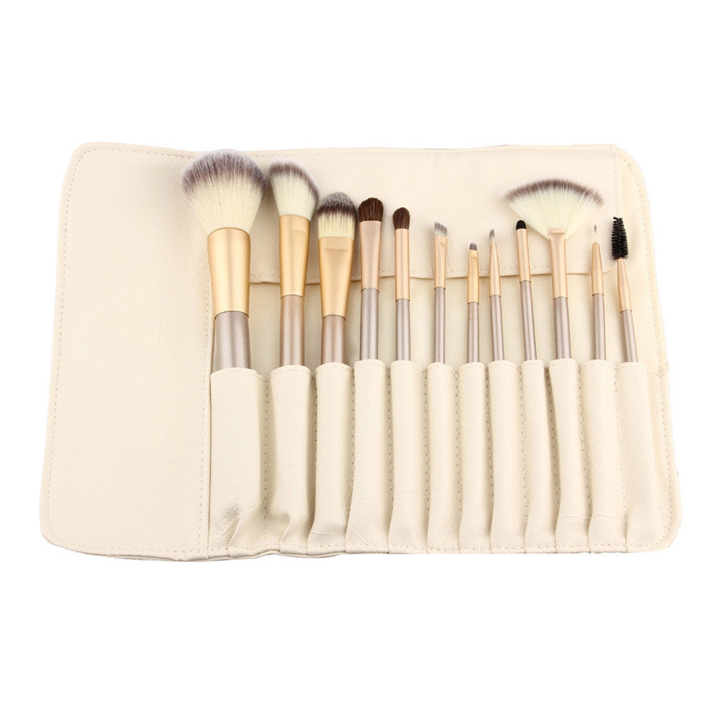 Rose Gold Makeup Brushes with Leather Kit 12 Piece Set