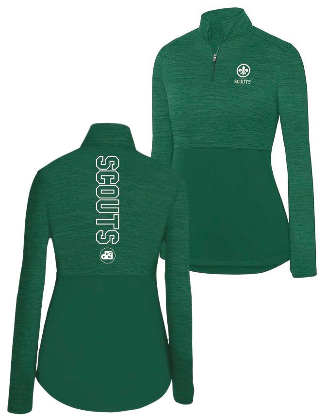 Ladies Quarter Zip Pullover (dark green)