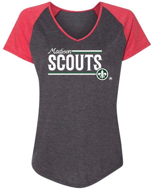 Ladies Grey & Red V-neck