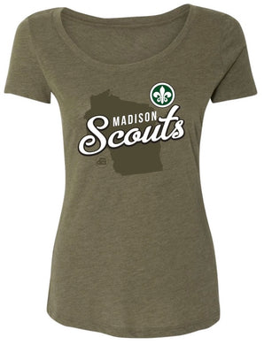 Ladies Wisconsin Scoop Neck tee