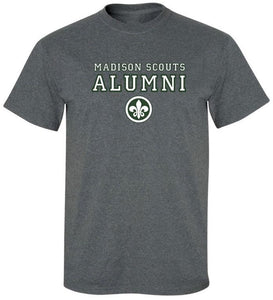 "A heather grey t-shirt with ""Madison Scouts Alumni"" in white and green block lettering."
