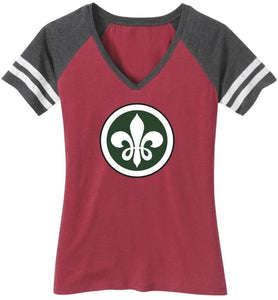 Ladies Red Circle Fleur V-Neck