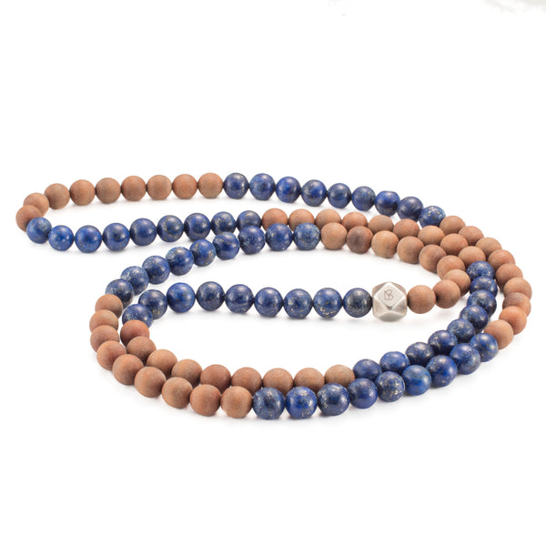 Lapis Lazuli & Sandalwood Mala Prayer Beads - Mala Prayer Beads