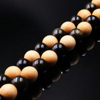 Obsidian & Cedar Wood Mala Prayer Beads - Mala Prayer Beads