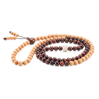 Red Tiger Eye & Cedar Wood Mala Prayer Beads - Mala Prayer Beads