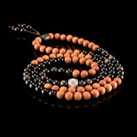 Obsidian & Sandalwood Mala Prayer Beads - Mala Prayer Beads