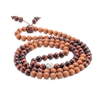 Red Tiger Eye & Sandalwood Mala Prayer Beads - Mala Prayer Beads