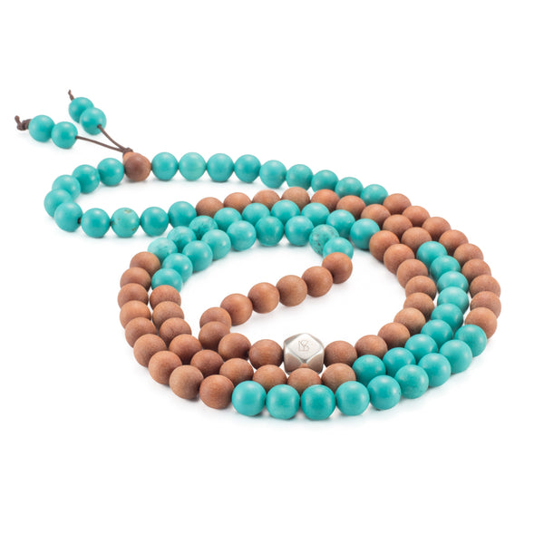 Turquoise & Sandalwood Mala Prayer Beads - Mala Prayer Beads