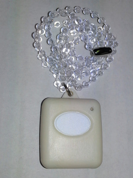 AE 1 channel waterproof pendant transmitter with Beaded Clear chain - White m- ptoduts