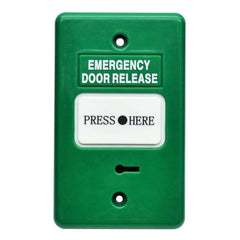 Resettable Emergency Dr Release w/ buzzer LED GREEN  IP55 GPO 2xSPDT CSM security suppliers Security wholesalers