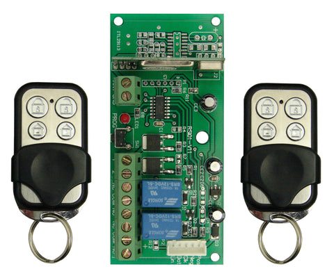 Runner (& PW8/16) Remote Kit 433MHz rolling code. 1 x Receiver with Siren Chirps, Strobe Flash & 2 x Garage Door Cont Relays. 2 x 4Ch remote w/sliding cover. Metallic finish m- ptoduts