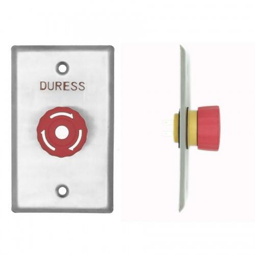 Duress Twist-To-Reset Mushroom Button, Plate, Red, IP65