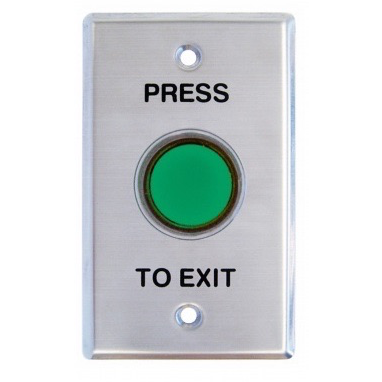 Round Exit Button, Illum Green, Plate, Shrouded