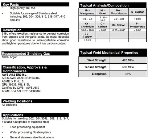 Stainless Steel ER316LSi TIG Wire Spec Sheet