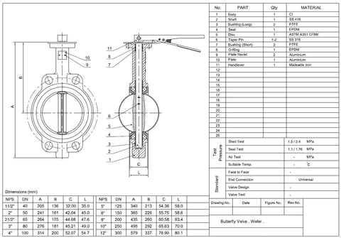 Resilient Seated Wafer Butterfly Valve Dimensions