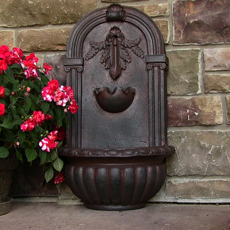 Weatherd iron florence outdoor wall water fountain sample layout view