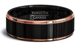 Black Tungsten & Rose Gold Wedding Band