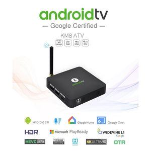 KM8 Android 8.0 Quad Core Smart TV BOX H.265 4K 2GB+16GB Voice Control TV Box UK Plug Android TV Box / Stick KM8 Voice