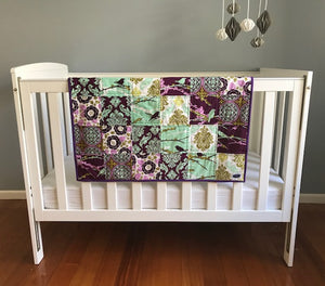 Cot Quilt using Joel Dewberry's Collection Aviary 2 in the lilac palette.