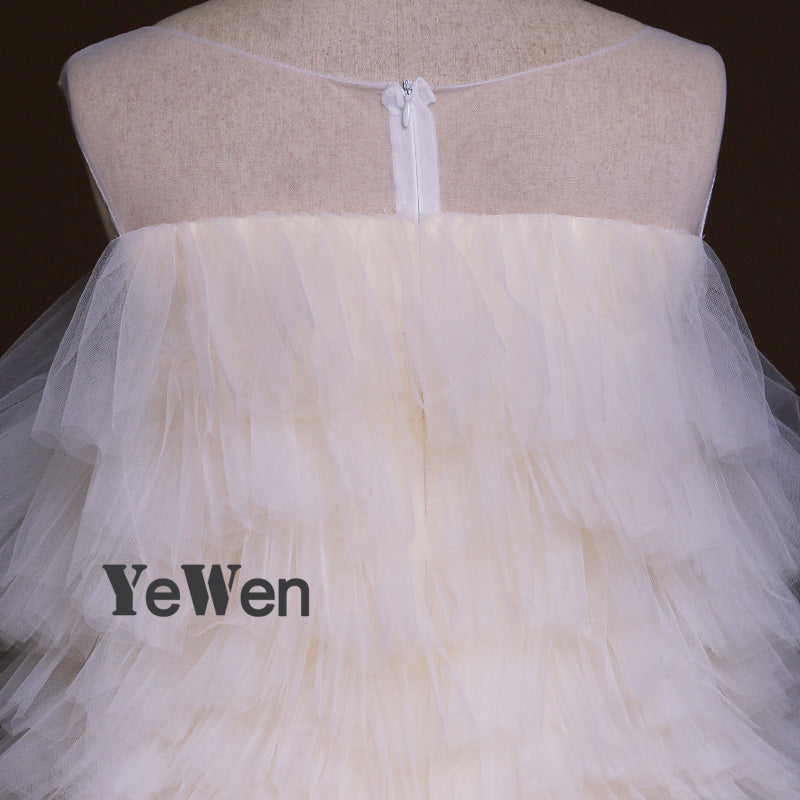Ice Cream Color Tulle Elegant Ball gown Evening Dress 2017 Long ...