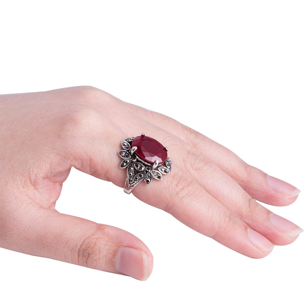 Turkish Jewelry BohoTribal Punk Hollow Out Flower Red Resin Gem ...